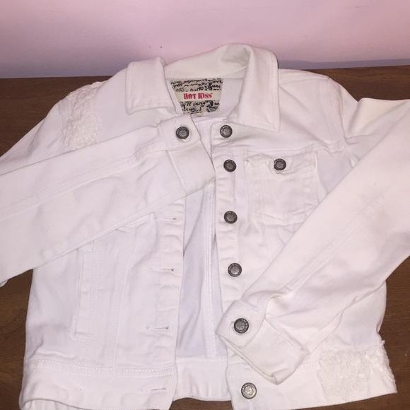 a7db896e4cfa Hot Kiss Jackets & Coats | White Jean Jacket With Small White Flower ...